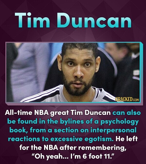 Tim Duncan CRACKED.COM All-time NBA great Tim Duncan can also be found in the bylines of a psychology book, from a section on interpersonal reactions