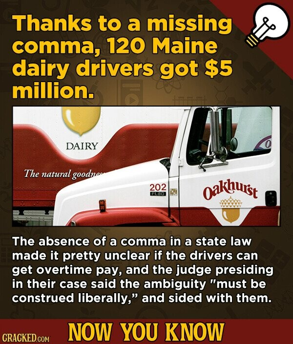 Thanks to a missing comma, 120 Maine dairy drivers got $5 million. DAIRY The natural goodneo 202 oakhust DAA FLHO The absence of a comma in a state law made it pretty unclear if the drivers can get overtime pay, and the judge presiding in their case said the ambiguity