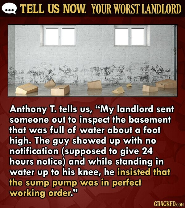 TELL US NOW. YOUR WORST LANDLORD Anthony T. tells US, My landlord sent someone out to inspect the basement that was full of water about a foot high. The guy showed up with no notification (supposed to give 24 hours notice) and while standing in water up to his knee,