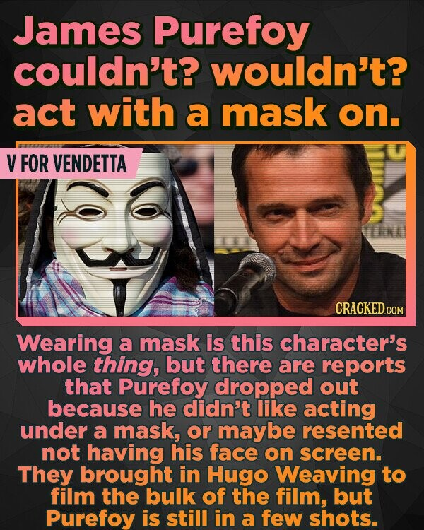 James Purefoy couldn't? wouldn't? act with a mask on. V FOR VENDETTA NA Wearing a mask is this character's whole thing, but there are reports that Purefoy dropped out because he didn't like acting under a mask, or maybe resented not having his face on screen. They brought in