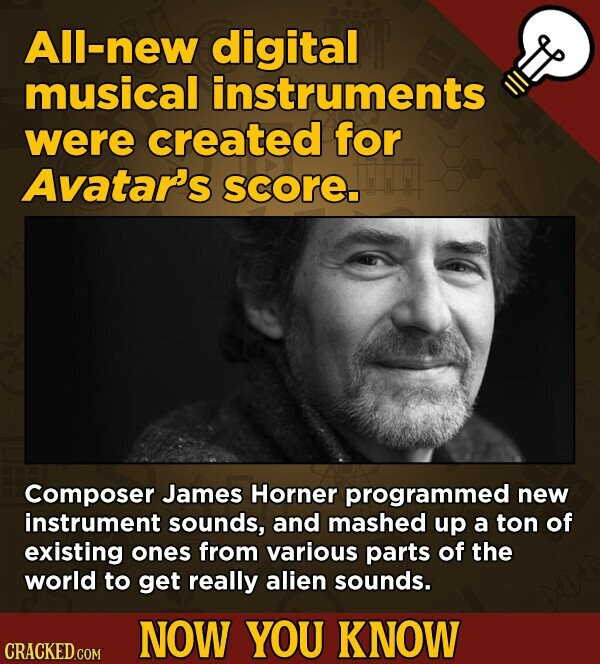 All-new digital musical instruments were created for Avatar's score Composer James Horner programmed new instrument sounds, and mashed up a ton of existing ones from various parts of the world to get really alien sounds. NOW YOU KNOW CRACKED.COM