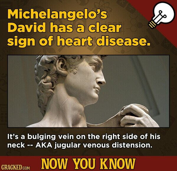 Michelangelo's David has a clear sign of heart disease. It's a bulging vein on the right side of his neck- AKA jugular venous distension. NOW YOU KNOW CRACKED COM