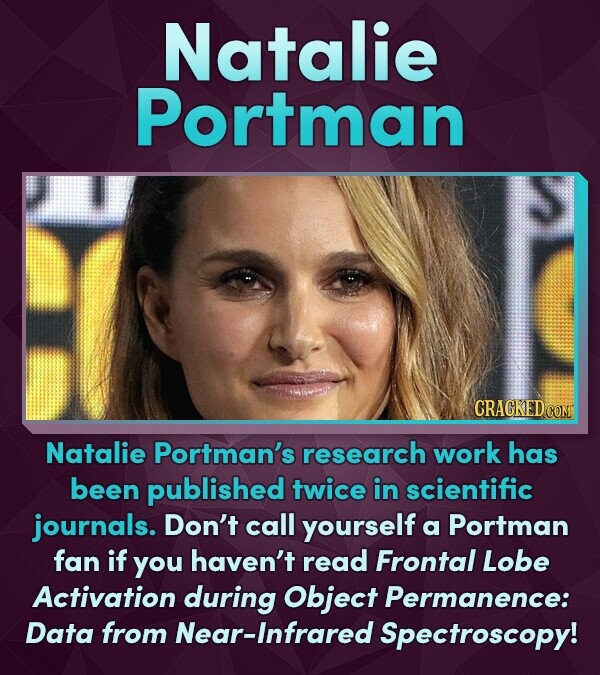 Natalie Portman Natalie Portman's research work has been published twice in scientific journals. Don't call yourself a Portman fan if you haven't read