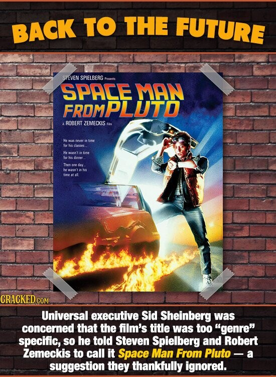 BACK TO THE FUTURE STEVEN SPIELBERG Presns SPACE MAN FRDMPLUTD ROBERT ZEMECKIS F A He was nevet in me for heis dlasses He waso't in tie for hs dinoer The oe dav. be wasn't n hi tim at al CRACKED COM Universal executive Sid Sheinberg was concerned that the film's title was too