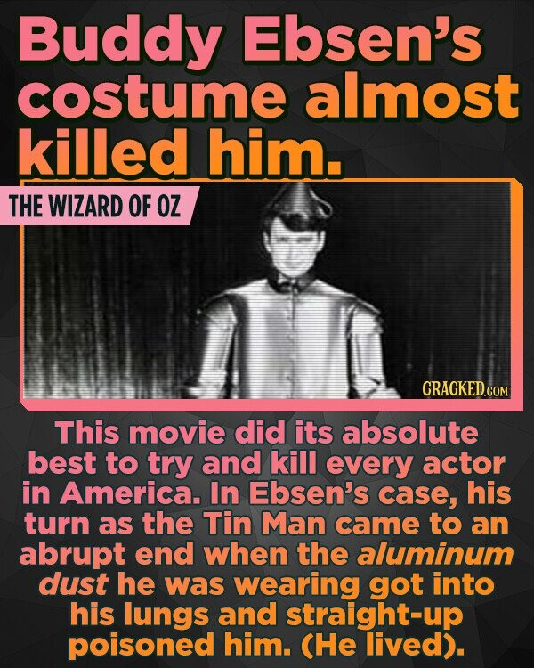 Buddy Ebsen's costume almost killed him. THE WIZARD OF OZ CRACKEDCO This movie did its absolute best to try and kill every actor in America. In Ebsen's case, his turn as the Tin Man came to an abrupt end when the aluminum dust he was wearing got into his lungs