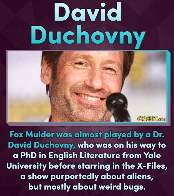 David Duchovny CRACKEDCON Fox Mulder was almost played by a Dr. David Duchovny, who was on his way to a PhD in English Literature from Yale University