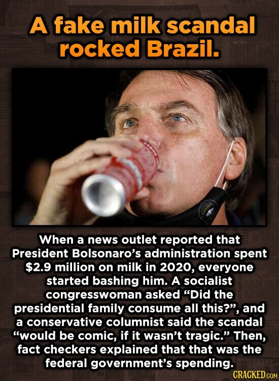 A fake milk scandal rocked Brazil. When a news outlet reported that President Bolsonaro's administration spent $2.9 million on milk in 2020, everyone started bashing him. A socialist congresswoman asked Did the presidential family consume all this?, and a conservative columnist said the scandal would be comic, if it wasn't