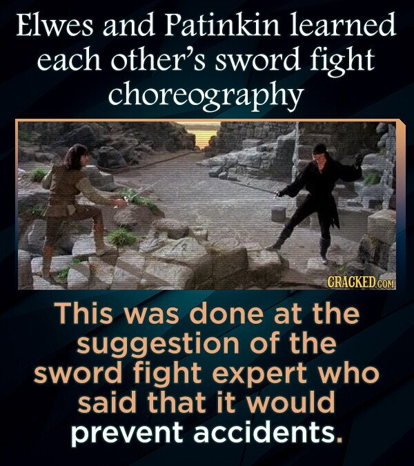 Elwes and Patinkin learned each other's sword fight choreography This was done at the suggestion of the sword fight expert who said that it would prevent accidents.