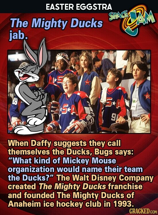 EASTER EGGSTRA SPACE AM The Mighty Ducks jab. 5 G+A P 9 When Daffy suggests they call themselves the Ducks, Bugs says: What kind of Mickey Mouse organization would name their team the Ducks? The Walt Disney Company created The Mighty Ducks franchise and founded The Mighty Ducks of Anaheim
