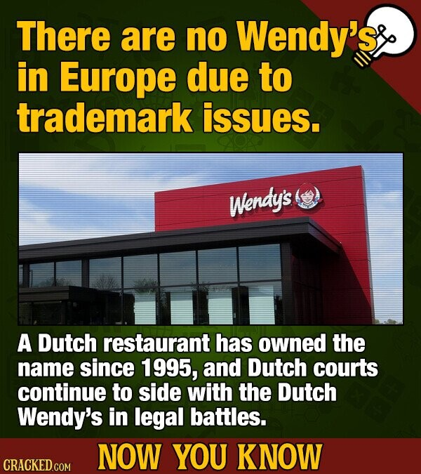 There are no Wendy's in Europe due to trademark issues. Wendy's A Dutch restaurant has owned the name since 1995, and Dutch courts continue to side wi