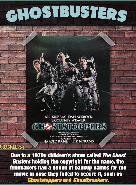 GHOSTBUSTERS BILL MURRAY DAN AYKROYD SIGOURNEY WEAVER GHOOSTSTOPPERS NREITMAN BLACK RHINO BERNIE BRILLSTEIN GHOSTBUSTERS' HAROLD RAMIS RICK MORANIS CRACKED CON Due to a 1970s children's show called The Ghost Busters holding the copyright for the name, the filmmakers had a bunch of backup names for the movie in case they failed to secure