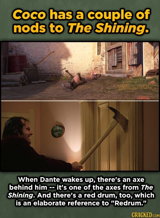 coco has a couple of nods to The Shining. When Dante wakes up, there's an axe behind him- it's one of the axes from The Shining. And there's a red drum, too, which is an elaborate reference to Redrum.