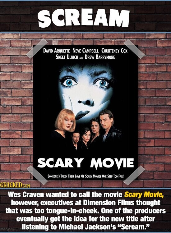 SCREAM DAVID ARQUETTE NeVe CAMPBELL COURTENEY Cox SKEET ULRICH DREW BARRYMORE AND SCARY MOVIE SOMEONE'S TAKEN THEIR Love OF SCARY MOVIES ONE STEP Too FAR! CRACKED Wes Craven wanted to call the movie Scary Movie, however, executives at Dimension Films thought that was too tongue-in-cheek. One of the producers eventually got the idea