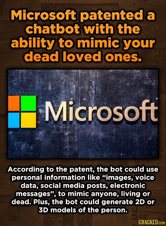 Microsoft patented a chatbot with the ability to mimic your dead loved ones. Microsoft According to the patent, the bot could use personal information like images, voice data, social media posts, electronic messages, to mimic anyone, living or dead. Plus, the bot could generate 2D or 3D models of the