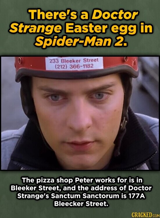 There's a Doctor Strange Easter egg in Spider-Man 2. 233 Bleeker Street (212) 366-1182 The pizza shop Peter works for is in Bleeker Street, and the address of Doctor Strange's Sanctum Sanctorum is 177A Bleecker Street.