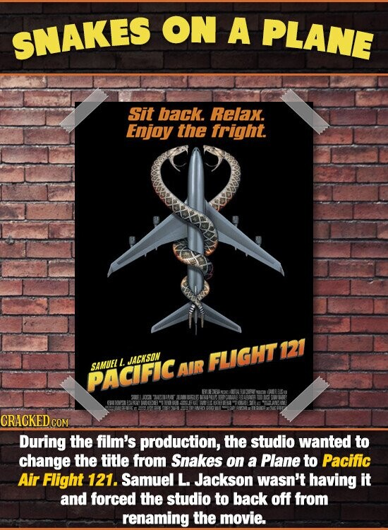ON A PLANE SNAKES Sit back. Relax. Enjoy the fright. L JACKSON FLIGHT121 SAMUEL AIR PACIFIC CRACKED COM During the film's production, the studio wanted to change the title from Snakes on a Plane to Pacific Air Flight 121. Samuel L. Jackson wasn't having it and forced the studio to back