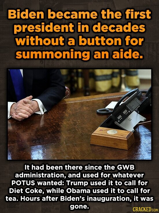Biden became the first president in decades without a button for summoning an aide. It had been there since the GWB administration, and used for whatever POTUS wanted: Trump used it to call for Diet Coke, while Obama used it to call for tea. Hours after Biden's inauguration, it was