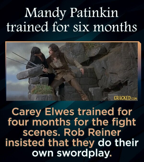 Mandy Patinkin trained for six months CRACKEDcO Carey Elwes trained for four months for the fight scenes. Rob Reiner insisted that they do their own swordplay.