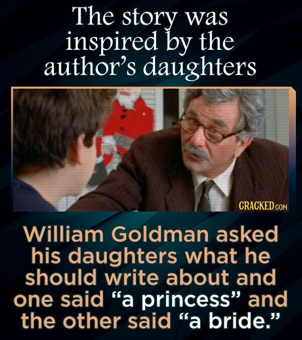The story was inspired by the author's daughters William Goldman asked his daughters what he should write about and one said a princess and the other said a bride.