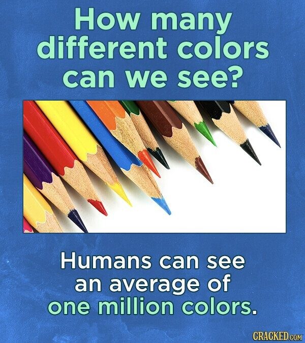 How many different colors can we see? Humans can see an average of one million colors. CRACKED COM