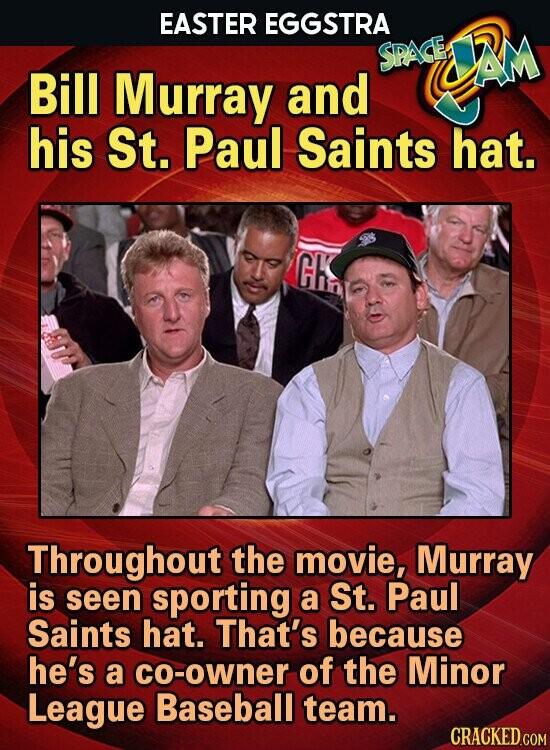 EASTER EGGSTRA SPAGED JAM Bill Murray and his St. Paul Saints hat. Fhn3s Throughout the movie, Murray is seen sporting a St. Paul Saints hat. That's because he's a Co-owner of the Minor League Baseball team.