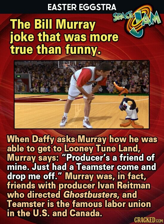 EASTER EGGSTRA SPASE AM The Bill Murray joke that was more true than funny. When Daffy asks Murray how he was able to get to Looney Tune Land, Murray says: Producer's a friend of mine. Just had a Teamster come and drop me off. Murray was, in fact, friends with