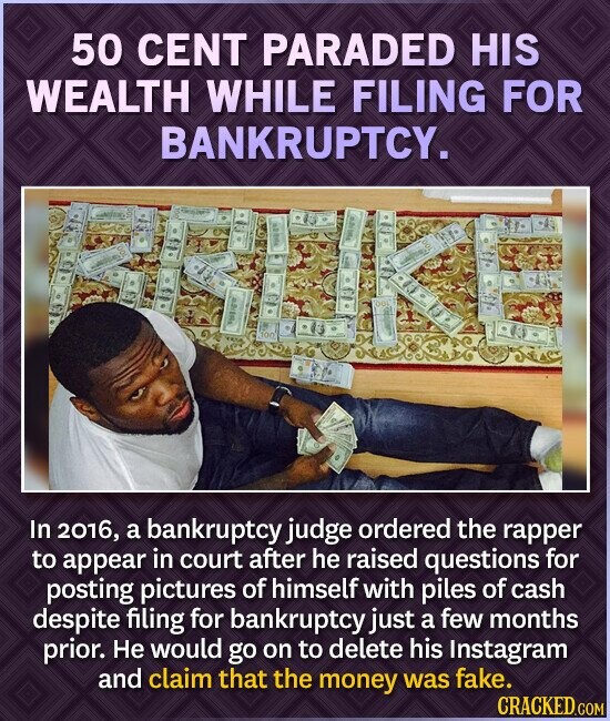50 CENT PARADED HIS WEALTH WHILE FILING FOR BANKRUPTCY. In 2016, a bankruptcy judge ordered the rapper to appear in court after he raised questions for posting pictures of himself with piles of cash despite filing for bankruptcy just a few months prior. He would go on to delete his