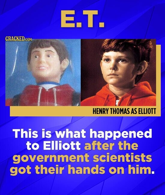 E.T. CRACKED COM HENRY THOMAS AS ELLIOTT This is what happened to Elliott after the government scientists got their hands on him.