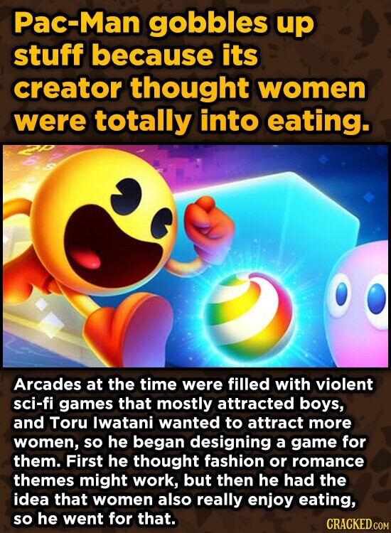Pac-Man gobbles up stuff because its creator thought women were totally into eating. Arcades at the time were filled with violent sci-fi games that mostly attracted boys, and Toru lwatani wanted to attract more women, so he began designing a game for them. First he thought fashion or romance themes