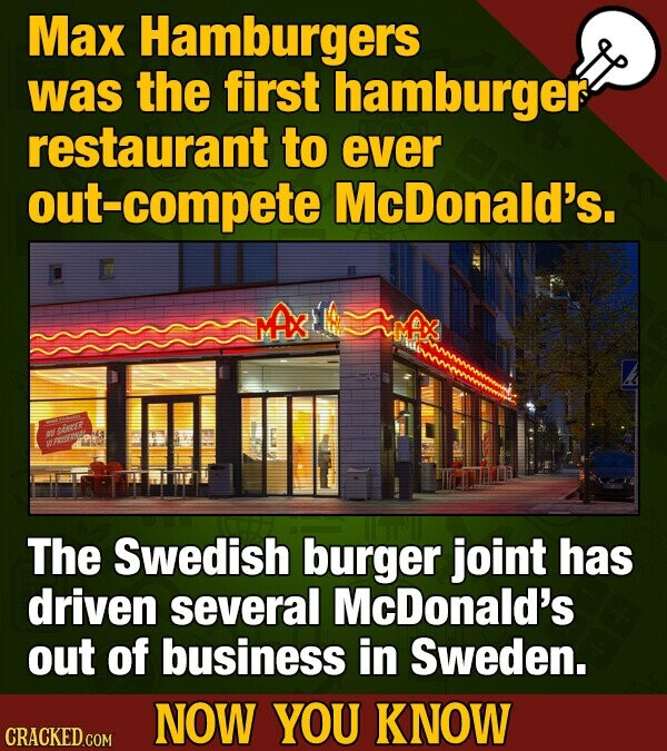 Max Hamburgers was the first hamburger restaurant to ever out-compete McDonald's. E MAx ceF The Swedish burger joint has driven several McDonald's out