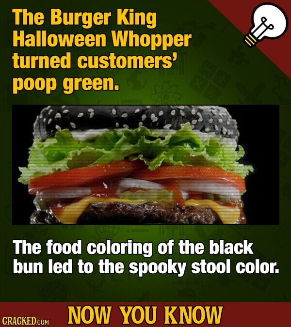 The Burger King Halloween Whopper turned customers' poop green. The food coloring of the black bun led to the spooky stool color. NOW YOU KNOW CRACKED