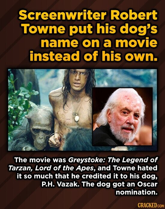 Screenwriter Robert Towne put his dog's name on a movie instead of his own. The movie was Greystoke: The Legend of Tarzan, Lord of the Apes, and Towne hated it so much that he credited it to his dog, P.H. Vazak. The dog got an Oscar nomination.