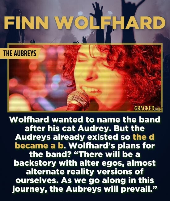 FINN WOLFHARD THE AUBREYS Wolfhard wanted to name the band after his cat Audrey. But the Audreys already existed so the d became a b. Wolfhard's plans