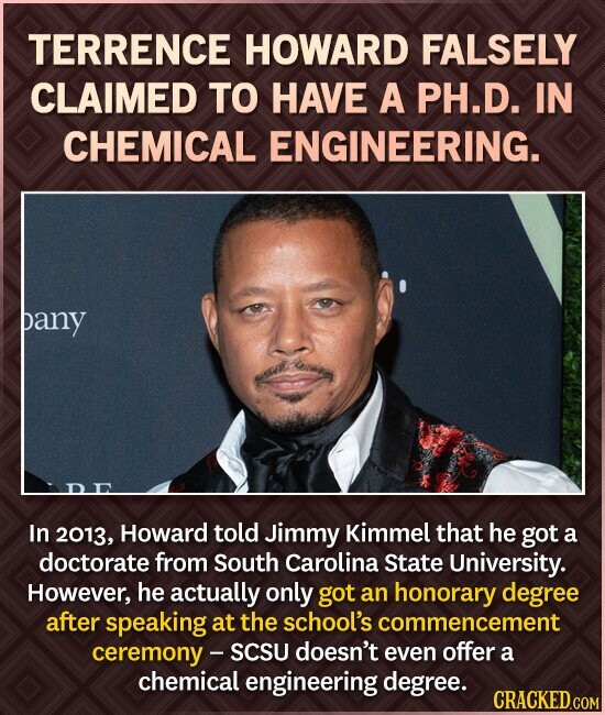 TERRENCE HOWARD FALSELY CLAIMED TO HAVE A PH.D. IN CHEMICAL ENGINEERING. pany In 2013, Howard told Jimmy Kimmel that he got a doctorate from South Carolina State University. However, he actually only got an honorary degree after speaking at the school's commencement ceremony- SCSU doesn't even offer a chemical engineering