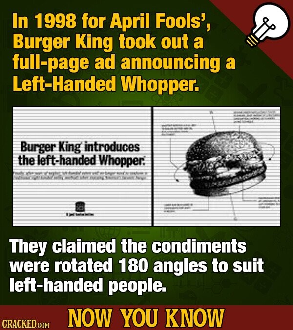 In 1998 for April Fools', Burger King took out a -page ad announcing a Left-Handed Whopper. Burger King introduces the left-handed Whopper. Fat: E a B