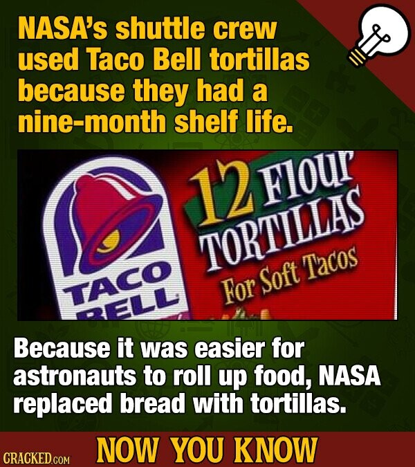 NASA's shuttle crew used Taco Bell tortillas because they had a nine-month shelf life. 12Flour Flour TORTILLAS Tacos For Soft TACO QELL Because it was