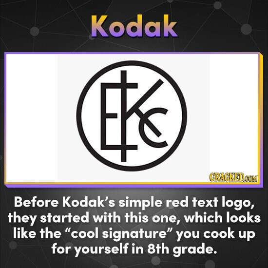Kodak Es CRACKED.CON Before Kodak's simple red text logo, they started with this one, which looks like the cool signature you cook up for yourself in 8th grade.