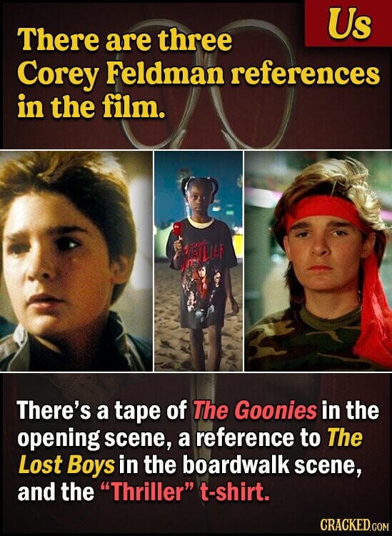 Us There are three Corey Feldman references in the film. There's a tape of The Goonies in the opening scene, a reference to The Lost Boys in the boardwalk scene, and the Thriller t-shirt.
