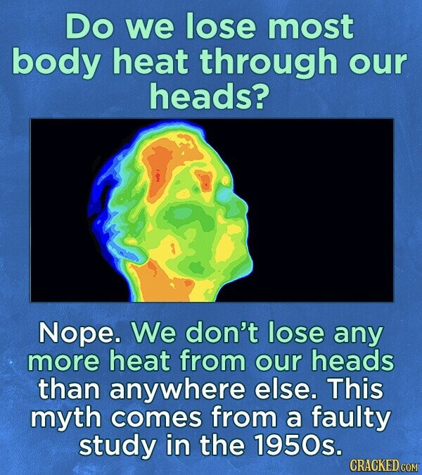 Do we lose most body heat through our heads? Nope. We don't lose any more heat from our heads than anywhere else. This myth comes from a faulty study in the 1950s. CRACKED COM