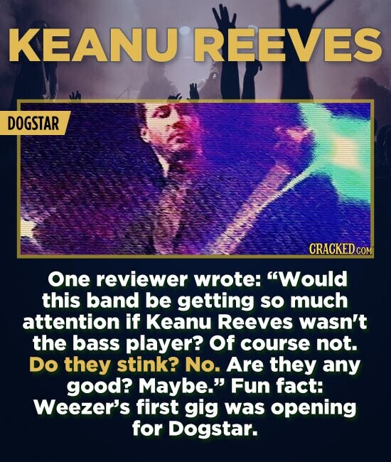 KEANU REEVES DOGSTAR One reviewer wrote: Would this band be getting so much attention if Keanu Reeves wasn't the bass player? Of course not. Do they
