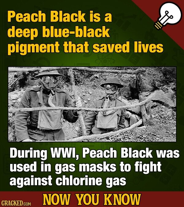 Peach Black is a deep blue-black pigment that saved lives During WW, Peach Black was used in gas masks to fight against chlorine gas NOW YOU KNOW CRACKED COM