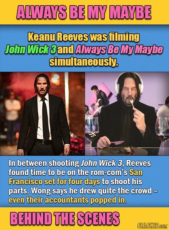 ALWAYS BE MY MAYBE Keanu Reeves was filming John Wick 3 and Always Be My Maybe simultaneously. In between shooting John Wick 3, Reeves found time to be on the rom-com's San Francisco set for four days to shoot his parts. Wong says he drew quite the crowd - even their