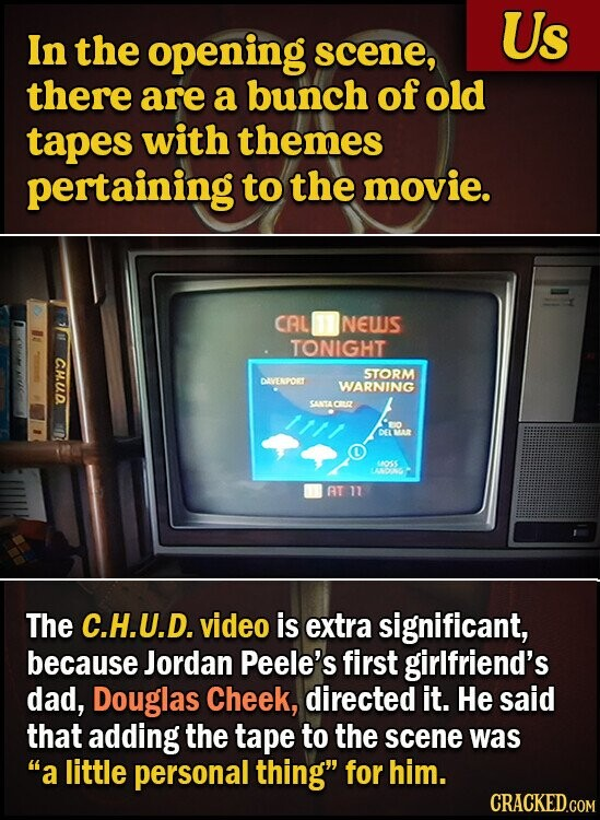 Us In the opening scene, there are a bunch of old tapES with themes pertaining to the movie. CAL NEUUS TONIGHT CH.UD STORM DIVENPORT WARNING SANTACUR O DELMAR 110S 1004 AT 11 The C.H.U.D. video is extra significant, because Jordan Peele's first girlfriend's dad, Douglas Cheek, directed it. He said