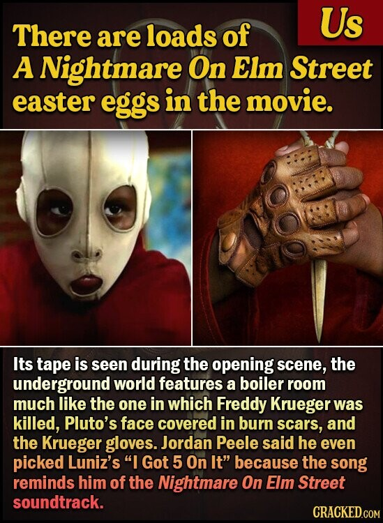 Us There are loads of A Nightmare On Elm Street easter eggs in the movie. Its tape is seen during the opening scene, the underground world features a boiler room much like the one in which Freddy Krueger was killed, Pluto's face covered in burn scars, and the Krueger gloves.