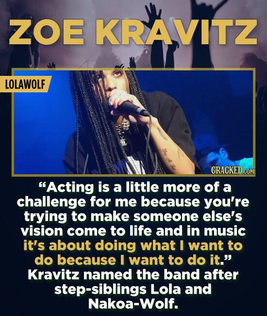 ZOE KRAVITZ LOLAWOLF CRACKED COM Acting is a little more of a challenge for me because you're trying to make someone else's vision come to life and i
