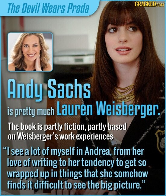 The Devil Wears Prada Andy Sachs Lauren Weisberger. is pretty much The book is partly fiction, partly based on Weisberger's work experiences I see a lot of myself in Andrea. from her love of writing to her tendency to get SO wrapped up in things that she somehow finds