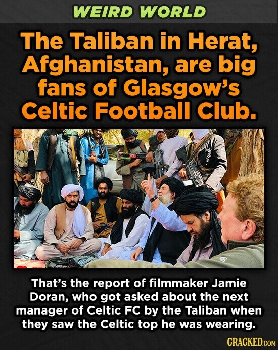 WEIRD WORLD The Taliban in Herat, Afghanistan, are big fans of Glasgow's Celtic Football Club. That's the report of filmmaker Jamie Doran, who got asked about the next manager of Celtic FC by the Taliban when they saw the Celtic top he was wearing.
