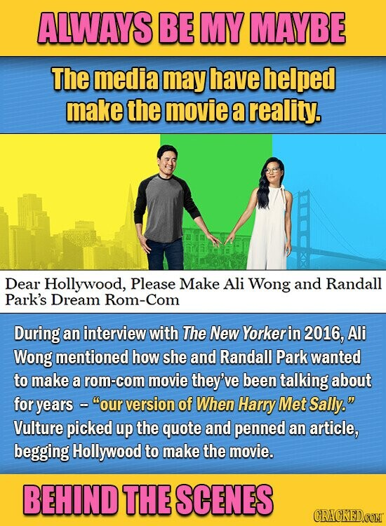 ALWAYS BE MY MAYBE The media may have helped make the movie a reality. Dear Hollywood, Please Make Ali Wong and Randall Park's Dream Rom-Com During an interview with The New Yorkerin 2016, Ali Wong mentioned how she and Randall Park wanted to make a rom-com movie they've been talking