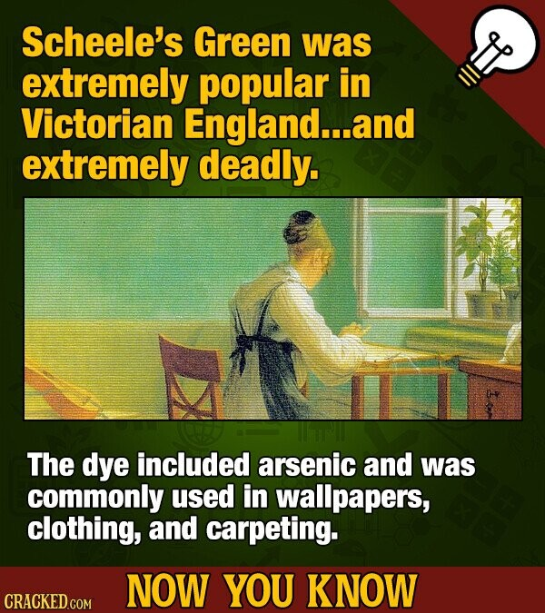 Scheele's Green was extremely popular in Victorian England...an extremely deadly. The dye included arsenic and was commonly used in wallpapers, clothing, and carpeting. NOW YOU KNOW CRACKED COM