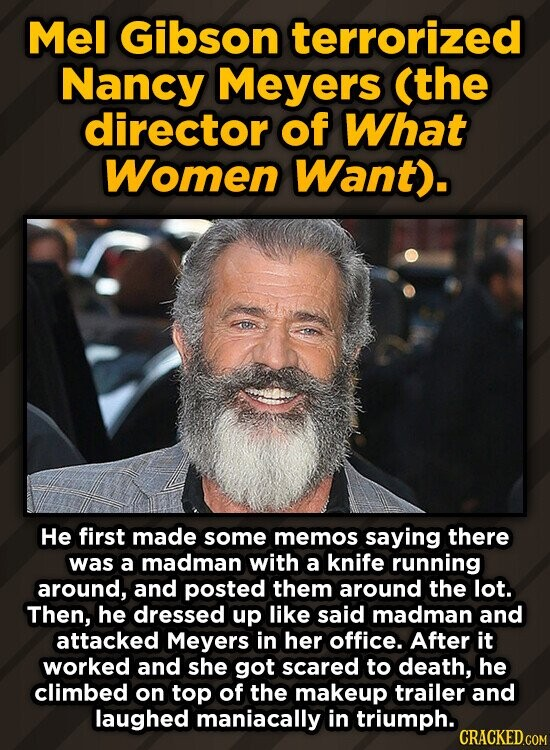 Mel Gibson terrorized Nancy Meyers (the director of What Women Want). He first made some memos saying there was a madman with a knife running around, and posted them around the lot. Then, he dressed up like said madman and attacked Meyers in her office. After it worked and she